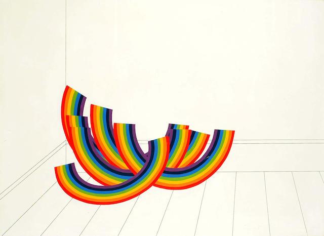 Patrick Hughes (British, b.1939) Rainbows in a room 88 x 120 cm.