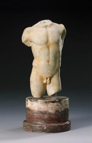 A Roman marble torso, on plinth, Circa 1st Century A.D.