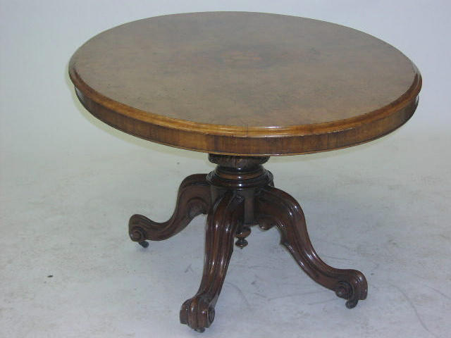A Victorian burr walnut loo table,