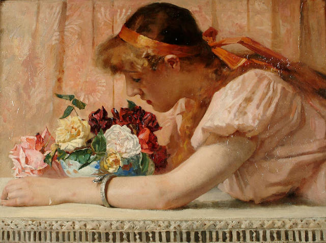 English School, 19th Century, The scent of the roses, 44 x 59cm