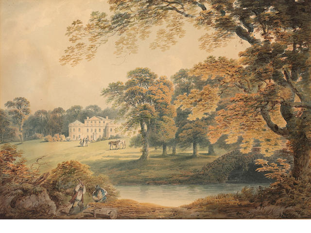 Francis Nicholson (British, 1753-1844) Rudding House, Yorkshire 29 x 41 cm. (11 1/2 x 16 in.) unfram