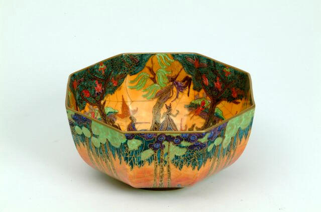 A Wedgwood Fairyland Lustre Bowl printed urn marks, Z5481, 19 cm diameter.