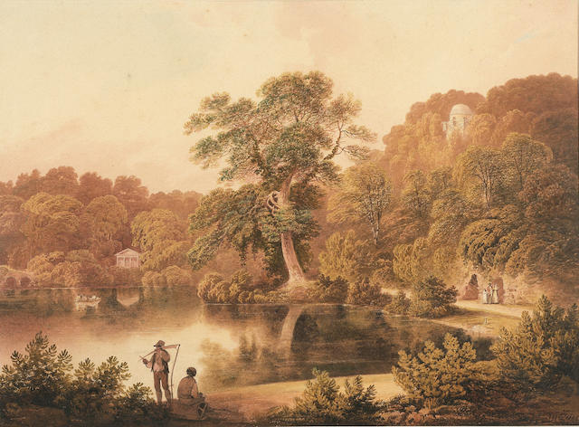Francis Nicholson O.W.S. (British, 1753-1844) The Temple of Flora, Stourhead, Wiltshire 40 x 54.5 cm. (15 3/4 x 21 1/2 in.)