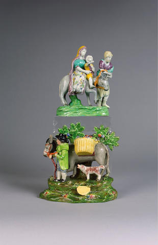 A pearlware bocage group of the 'Jolly Traveller', circa 1820-30,