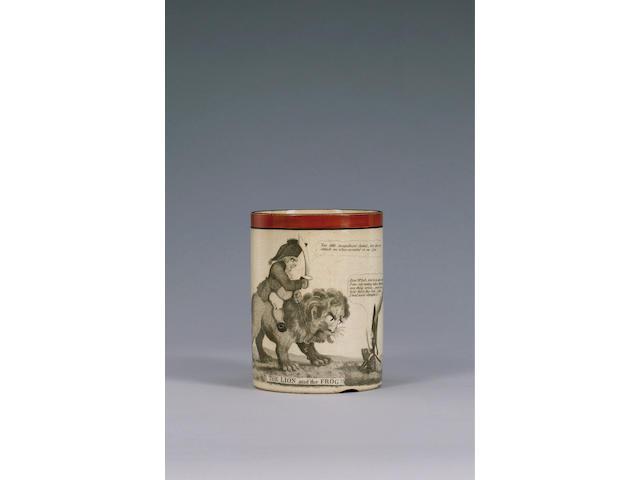 A rare Staffordshire satirical mug, circa 1805,
