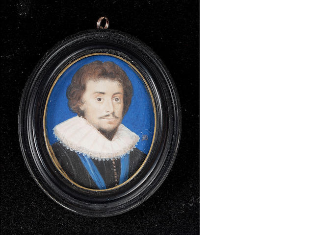 Peter Oliver, Frederick V, King of Bohemia and Elector Palantine (1596-1632), wearing black doublet, white ruff and blue ribbon of an Order, blue bice background