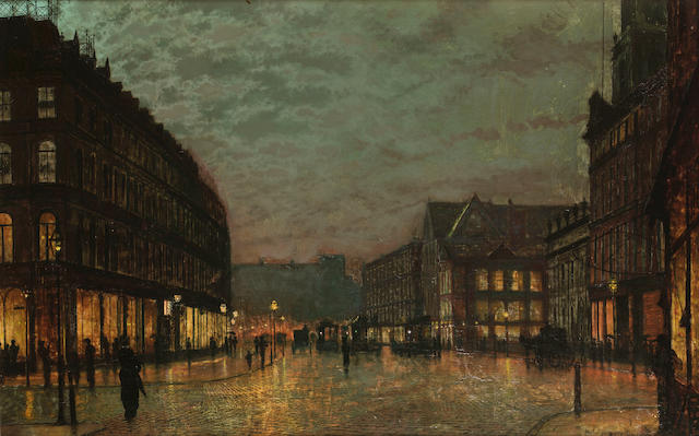 John Atkinson Grimshaw (British 1836-1893) Boar Lane, Leeds, by lamplight 49 x 77 cm. (19 1/4 x 30 1/4 in.)