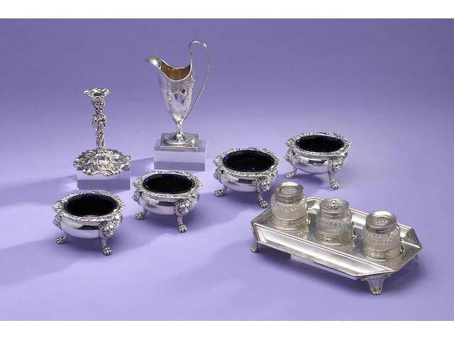 A set of four George IV cauldron salts, by William Eaton, London 1829,