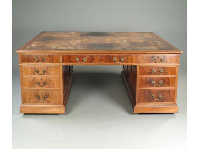 A George III style mahogany partners desk