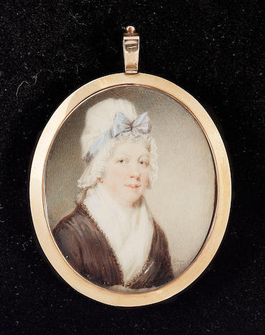 David Gibson, A double-sided miniature, probably husband and wife; he wears brown coat, pale yellow waistcoat, white cravat and powdered wig; she wears brown dress with white fichu, her white bonnet trimmed with blue ribbon