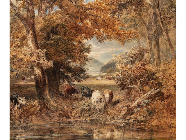 Thales Fielding (British, 1793-1837) Cattle watering from a stream