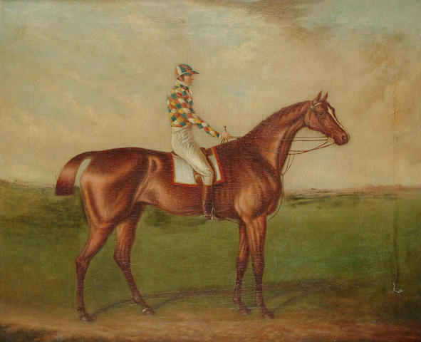 After John Frederick Herring Snr. Barefoot, winner of the 1823 St. Leger, bears signature 'J.F. Herring' and dated '1823', 57.1 x 69cm.