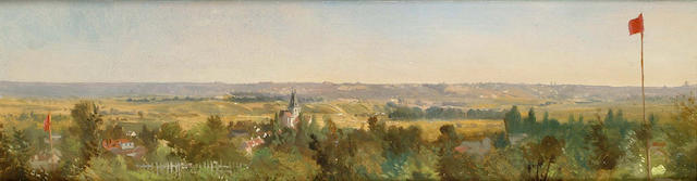 Henri Harpignies (French, 1819-1916) An extensive landscape with a village in the distance 17.5 x 62cm