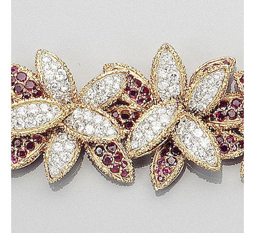 A ruby and diamond floral bracelet, brooch and ring suite