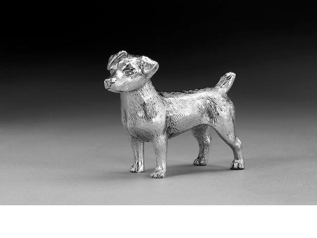 Solid silver model of a terrier