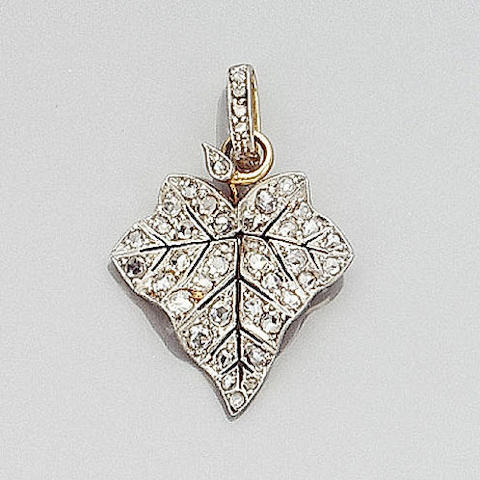 A diamond leaf pendant