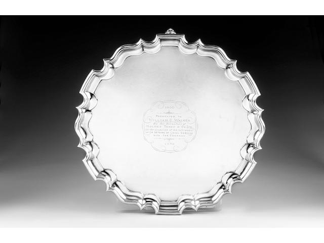 A large silver salver, by T. Bradbury & Sons, London 1939,