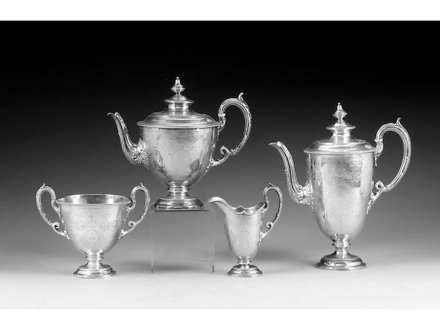 A Victorian four piece silver tea and coffee set of vase shape, by E. & J. Barnard, London 1866,