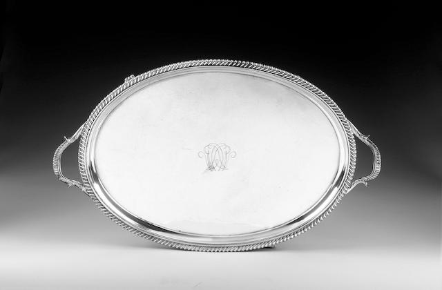 A George III silver oval two-handled tray, by John Mewburn, London 1815,