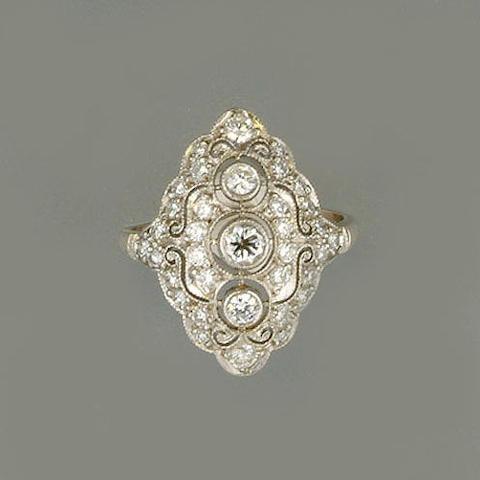 A diamond-set plaque ring