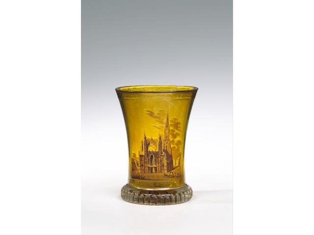 A Viennese transparent enamelled ranftbecher, circa 1820, attributed to Anton Kothgasser,