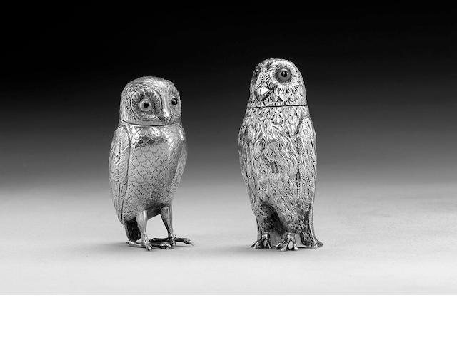 Two silver owls, Birmingham 1907, and Dutch 1918,