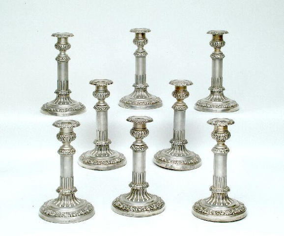 A set of eight George III telescopic candlesticks By John and Thomas Settle, Sheffield 1818