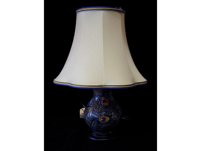 Moorcroft, A 'Peacock Feather' lamp base, circa 1997,