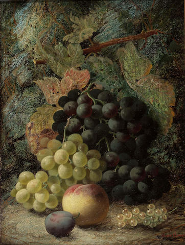 Oliver Clare (British 1853-1927) Still life of grapes and other fruit on a mossy bank; Still life of