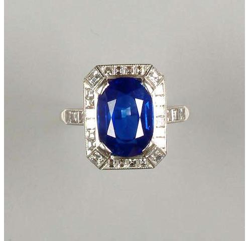 A Kashmir sapphire single-stone ring,