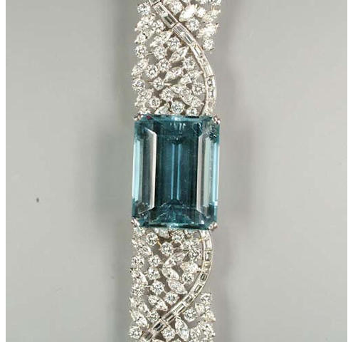 An aquamarine and diamond bracelet,