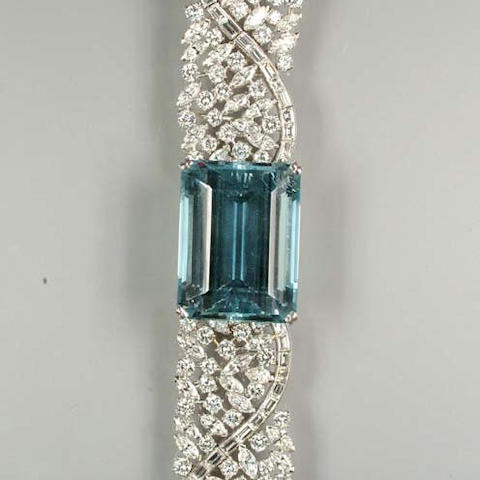 An aquamarine and diamond bracelet
