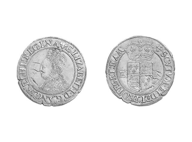 Elizabeth I (1558-1603),  Half Pound, young bust left, mm.cross-crosslet (S.2520).