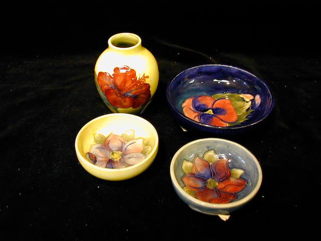 Moorcroft, A small 'Pansy' pattern circular bowl,