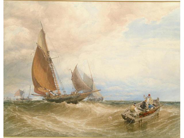 "William Roxby Beverley (1811-1889) ""Fresh Breeze - Fishing Smack Making for Port"" 63 x 83cm"