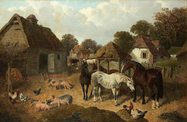 John Frederick Herring, Jnr. (British 1815-1907) A farmyard scene with horses, pigs, cattle and poultry 64 x 92 cm. (25 1/4 x 36 1/4 in.)