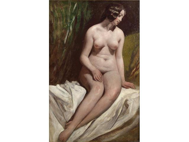 William Etty, RA (British 1787-1849) Seated female nude 66 x 44.5 cm