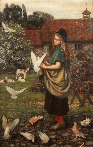 Arthur Hughes (British 1832-1915) The pet of the farm 61.5 x 42 cm. (24 1/4 x 16 1/2 in.)
