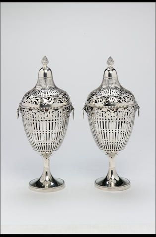 A pair of Edwardian chestnut or pot pourri vases and covers, by James Jay, Chester, 1903,