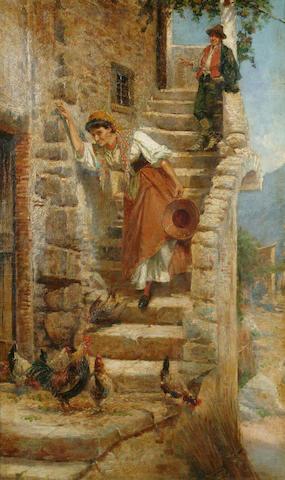 Pietro Barucci (Italian, 1845-1917) Feeding the chickens 84 x 52cm