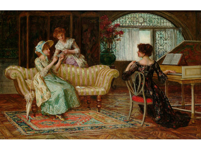 Francis Sydney Muschamp (British, 1851-1929) The recital 49 x 75 cm