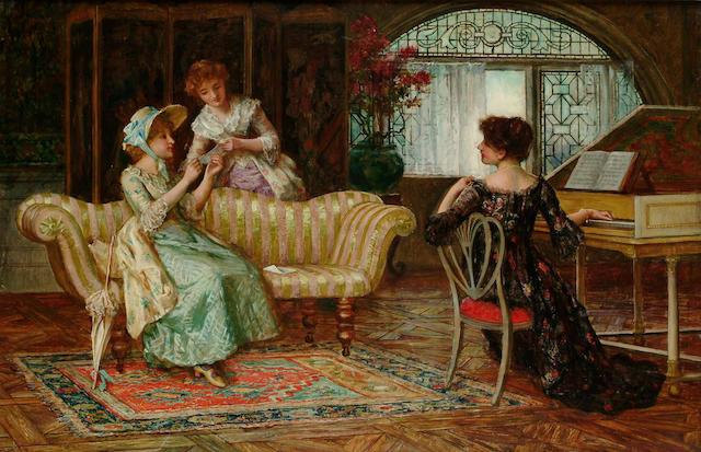 Francis Sydney Muschamp (British, 1851-1929) The recital 49 x 75 cm