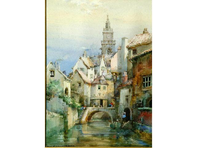 "Noel Harry Leaver A.R.C.A. (1889-1951) ""A Dutch Canal""signed, watercolour."