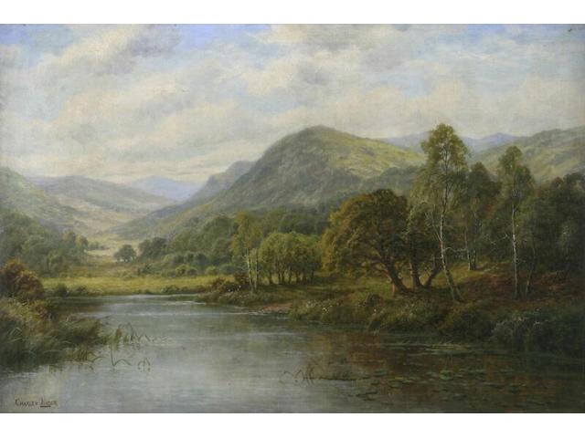 Charles Leader A highland river landscape; 61x91cm