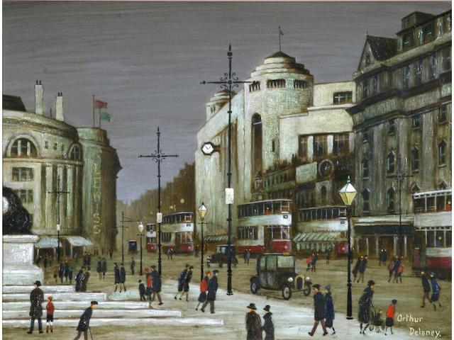Arthur Delaney (1927 - 1987) Piccadilly, Manchester, 30.5 x 40.5cm.