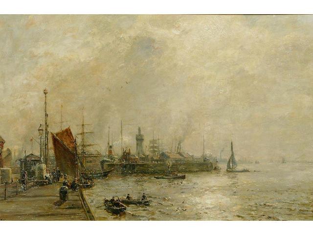 "Herbert F. Royle (1870-1958) ""Entrance to Canada Docks"" 68 x 103cm"