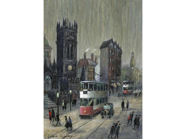 """Arthur Delaney (1927 - 1987) """"Deansgate, Manchester"""", 34 x 25cm."""