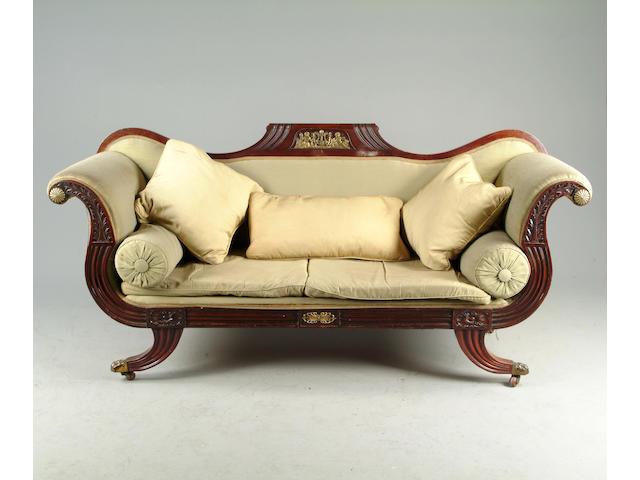 A 19th Century mahogany  framed sofa in the Regency taste