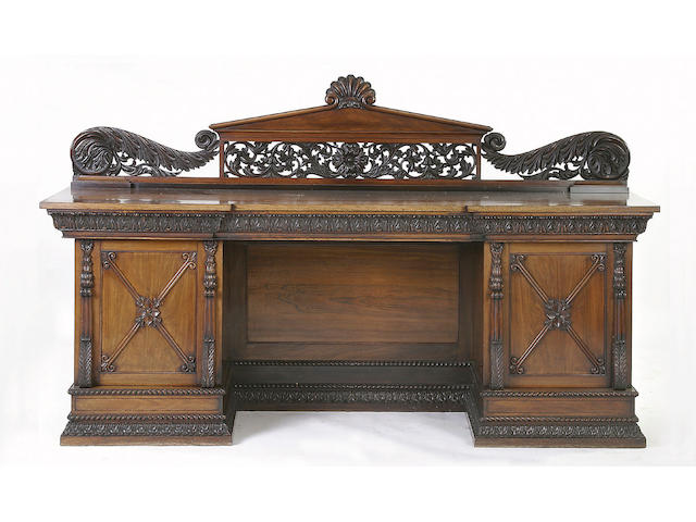 A William IV padouk pedestal sideboard
