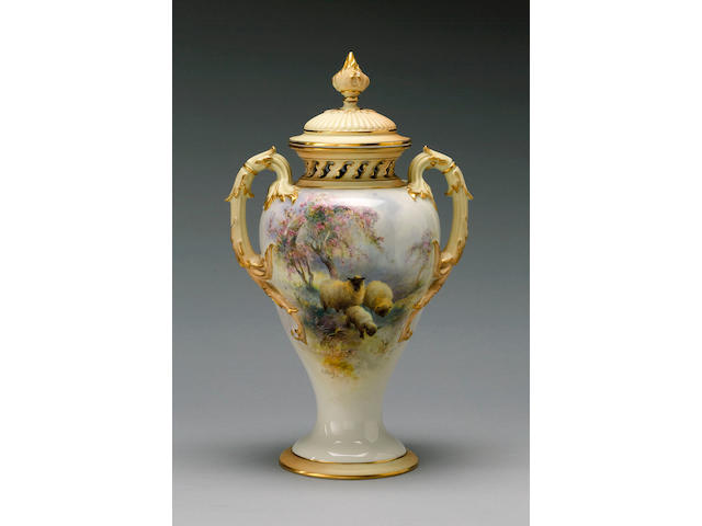 A Royal Worcester vase and cover by Harry Davis dated for 1910